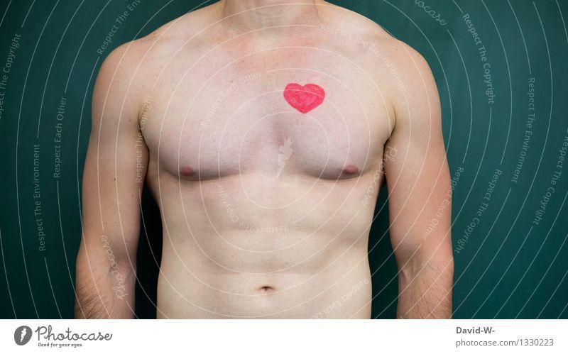 Herz Gesundheit Gesundheitswesen Leben Mensch maskulin Junger Mann Jugendliche Erwachsene Körper 1 Kunst Liebe sportlich herzlich Muskulatur nackt muskulös