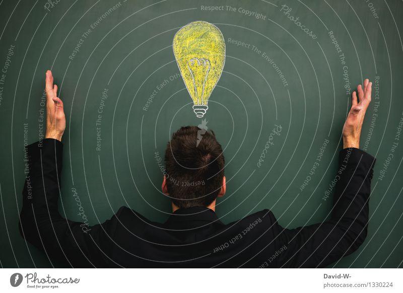 Einfall Mensch Jugendliche Mann Junger Mann Erwachsene Leben Denken Schule Business maskulin leuchten Erfolg Kreativität lernen Studium Idee