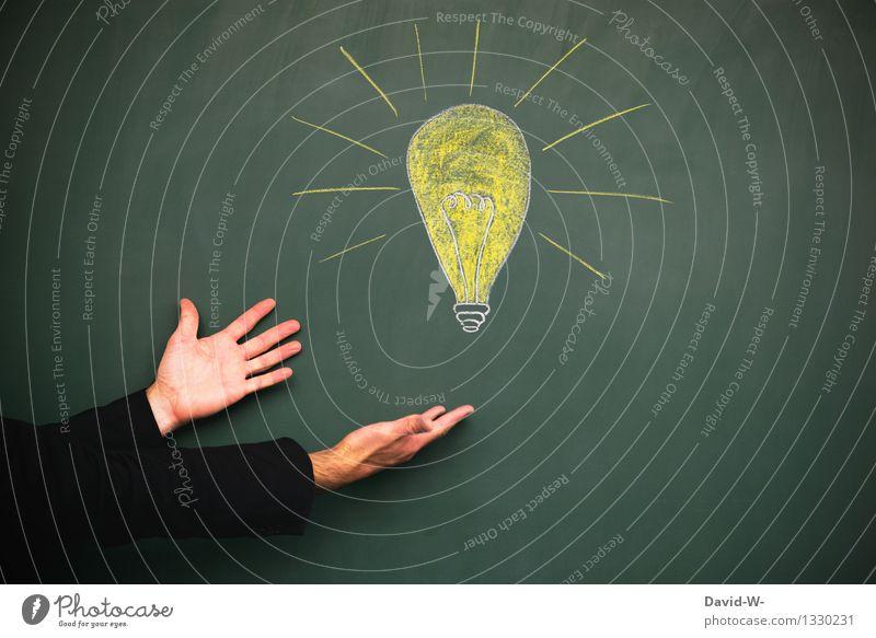 Jetzt kann es losgehen Mensch Jugendliche Mann Hand Erwachsene gelb Leben Beleuchtung Denken hell Business maskulin leuchten elegant Erfolg lernen