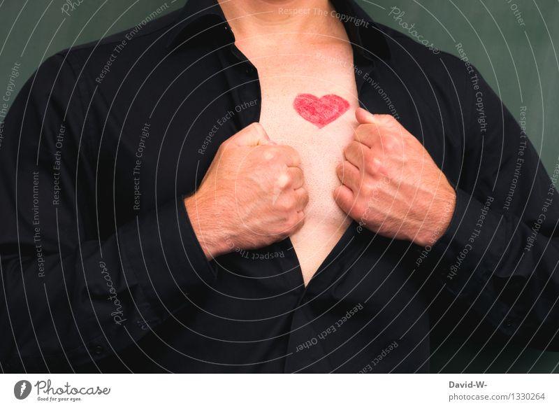 Mann mit Herz Lifestyle Körper Gesundheit Leben Valentinstag Mensch maskulin Erwachsene Brust 1 Kunst Hemd Liebe Gefühle Lebensfreude aufmachen herzlich
