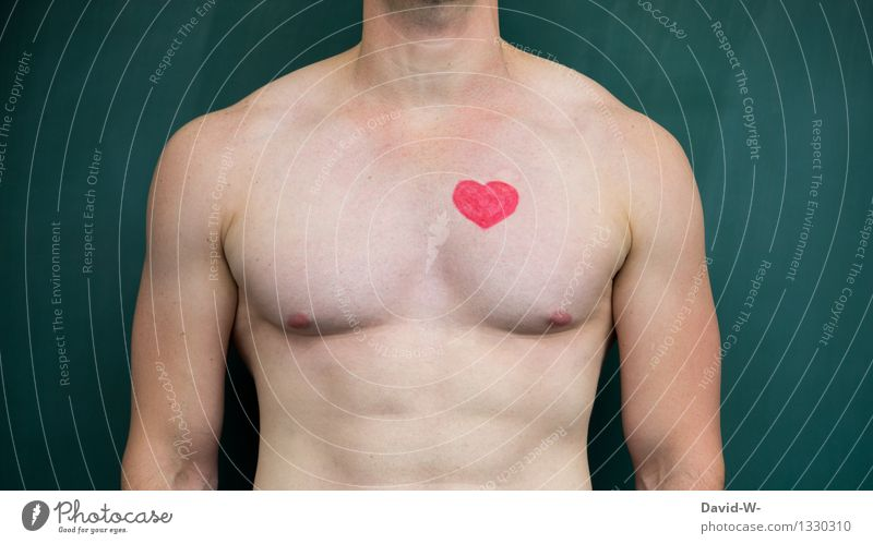 Das Herz am rechten Fleck Mensch Jugendliche Mann nackt Erholung Gesunde Ernährung Junger Mann Erotik Erwachsene Leben Liebe Gesundheit Gesundheitswesen maskulin Körper Herz
