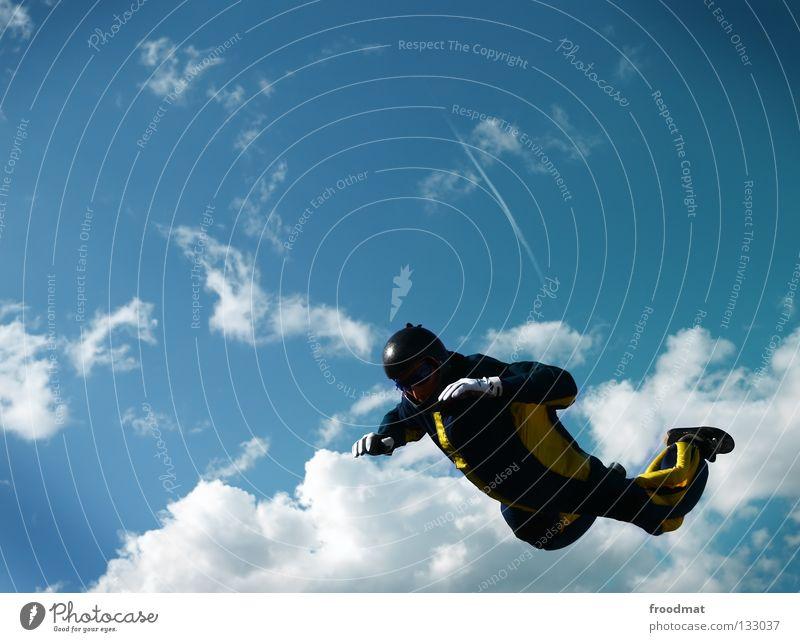 Propellerheads Himmel Freude Wolken Sport Leben springen Freiheit Zufriedenheit Flugzeug fliegen hoch Geschwindigkeit Aktion Elektrizität Luftverkehr Coolness
