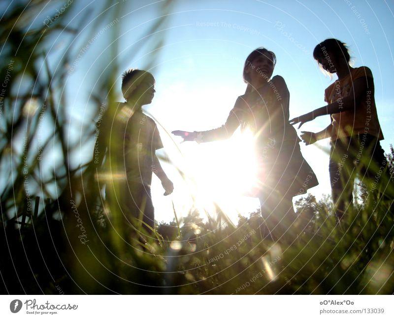 Sonnenkinder Mensch Kind Freude Spielen Gefühle Gras Freundschaft Perspektive