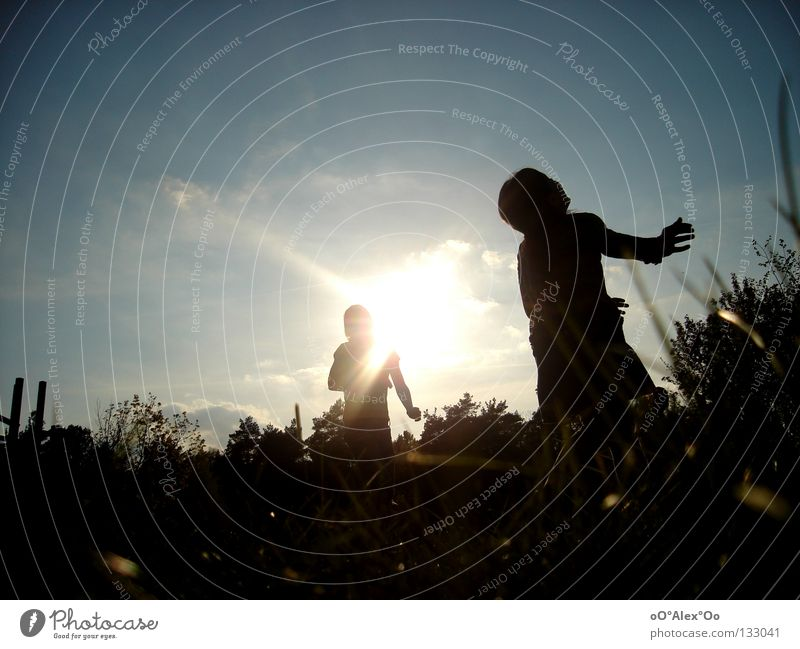 Blick nach oben Freude Spielen Kind Mensch Freundschaft Himmel Gras Gefühle Perspektive Sonnenuntergang Abend Licht