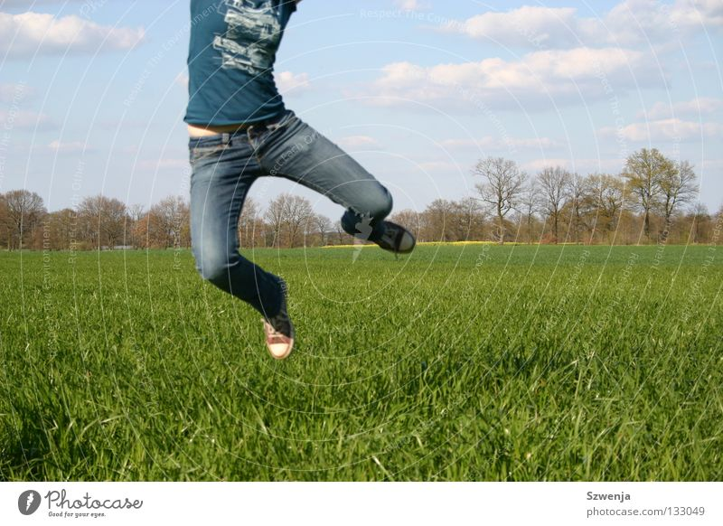 Sprung in den Frühling blau grün Wolken springen Feld Anschnitt Rapsfeld