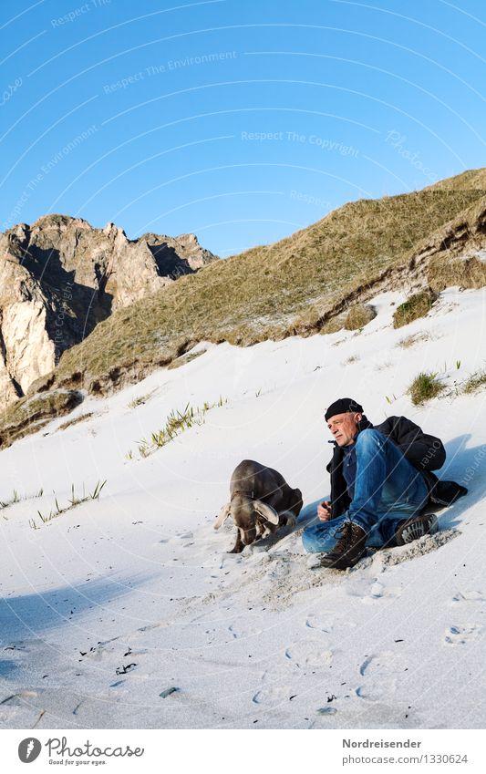 Auszeit..... Mensch Hund Ferien & Urlaub & Reisen Mann Sommer Sonne Erholung Meer Landschaft Tier Ferne Strand Erwachsene Reisefotografie Berge u. Gebirge