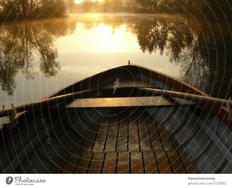 Frühsport Ruderboot Wasserfahrzeug See Teich Kiesgrube Zufriedenheit Spiegelbild Morgen Sonnenaufgang Romantik Schifffahrt Spielen Kahn Holzboot Paddel
