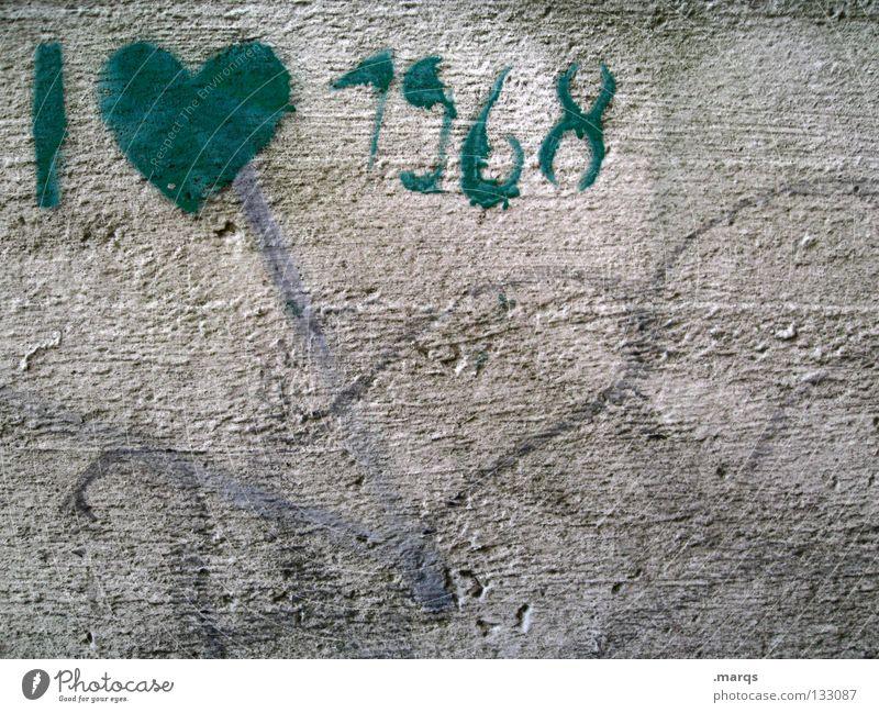 68er alt grün Liebe Wand Graffiti grau Bewegung Kunst dreckig Herz Elektrizität Kommunizieren Kultur verfallen Krieg
