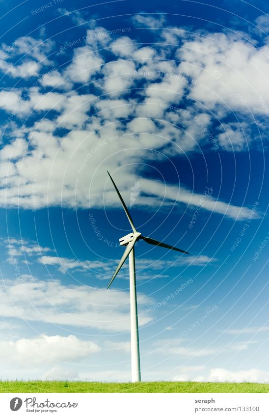 Windkraft Windkraftanlage Elektrizität Energie Energiewirtschaft umweltfreundlich Wolken Konstruktion Erneuerbare Energie ökologisch Umweltschutz modern