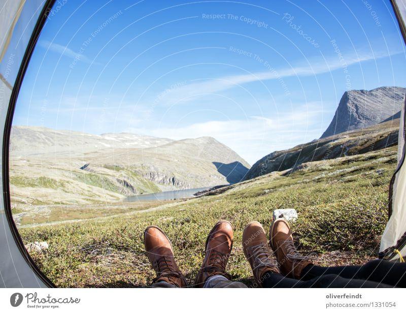 Norwegen - Rondane Ferien & Urlaub & Reisen Ausflug Abenteuer Ferne Freiheit Expedition Camping Berge u. Gebirge wandern Beine Fuß 2 Mensch Umwelt Natur Himmel