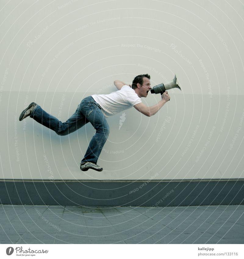freisprechanlage Mensch Mann ruhig Wand sprechen springen Mauer Schuhe fliegen Agentur verrückt neu Lifestyle Hinweisschild T-Shirt Kommunizieren