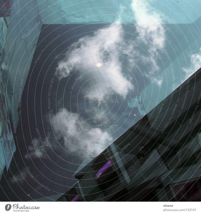 :TVKONSUM: Wolken Reflexion & Spiegelung Beton Dresden Medien Konzentration Glas reflektion Fernsehen Suche Himmel elsone Architektur