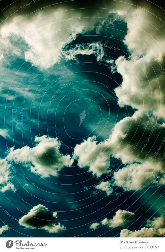 Wolkenmeer Himmel blau grün Sommer weiß Sonne Meer Ferne Hintergrundbild Freiheit Regen Wetter Wind Aussicht Unendlichkeit