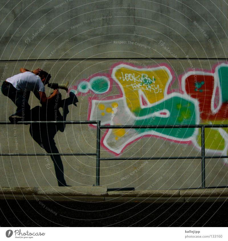 colour to the people Mensch Mann ruhig Wand Graffiti sprechen springen Mauer Schuhe fliegen verrückt neu Lifestyle Hinweisschild T-Shirt Kommunizieren