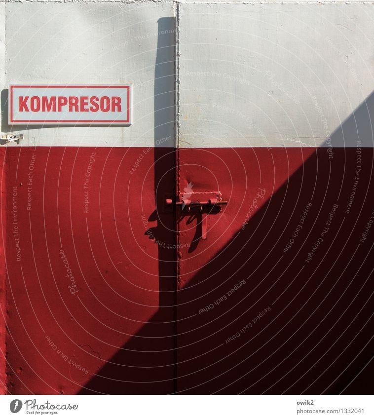 Komprimiert Tor Riegel geschlossen Metall Schriftzeichen Schilder & Markierungen eckig einfach rot schwarz weiß Schatten Polen polnisch Kompressor Ausland