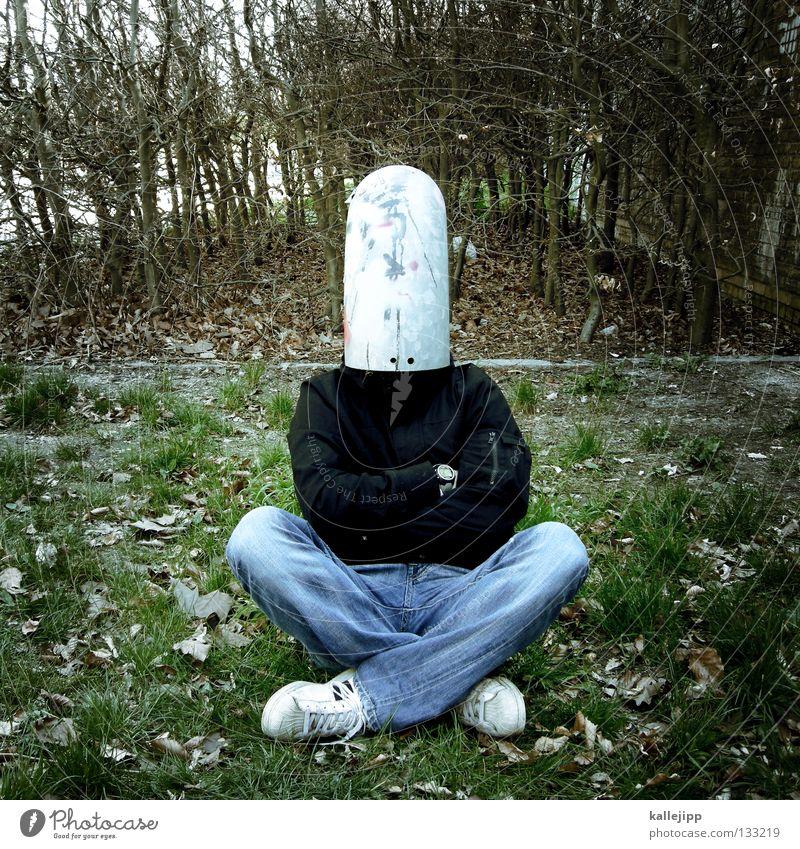 buddha Gedanke Lüftung kopflos blind Denken Brainstorming Gras Mann Mensch Witz lustig Idee Kreativität Versteck Schutz Röhren gesichtslos anonym unerkannt
