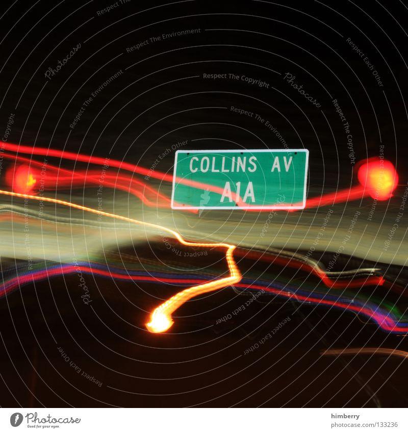 collins av Lampe Stadtleben Blitze Zoomeffekt Belichtung Langzeitbelichtung Nacht Straßennamenschild gehen Streifen Verkehr Straßenverkehr