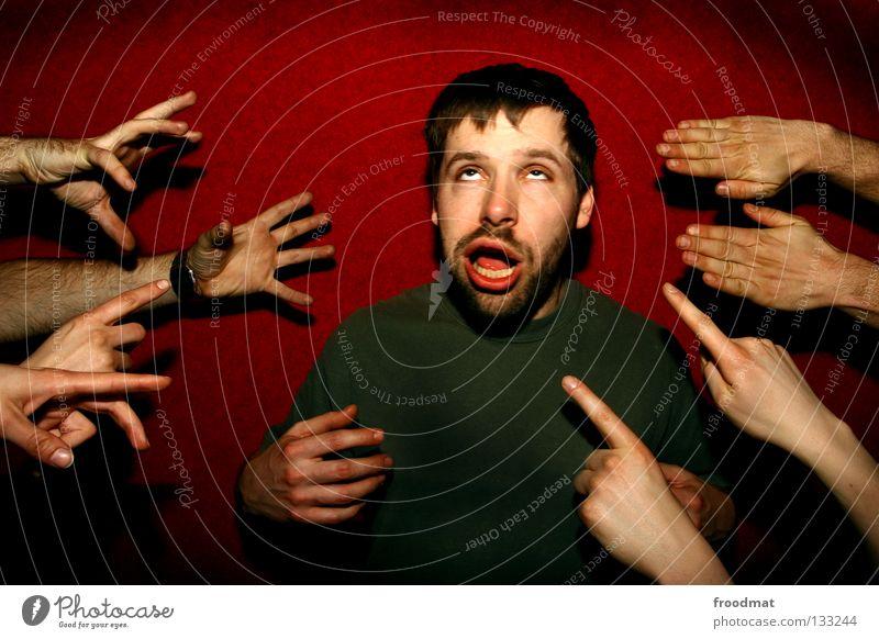 showcase Jugendliche Hand rot Freude Wand Spielen Bewegung lustig Mund Finger Aktion Coolness Show Ball Lippen fangen