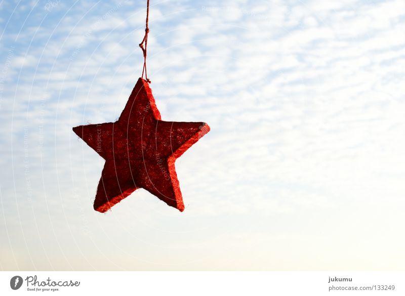 ein stern ... Gegenlicht rot Wolken Weihnachten & Advent Himmel Stern (Symbol) Sonne blau