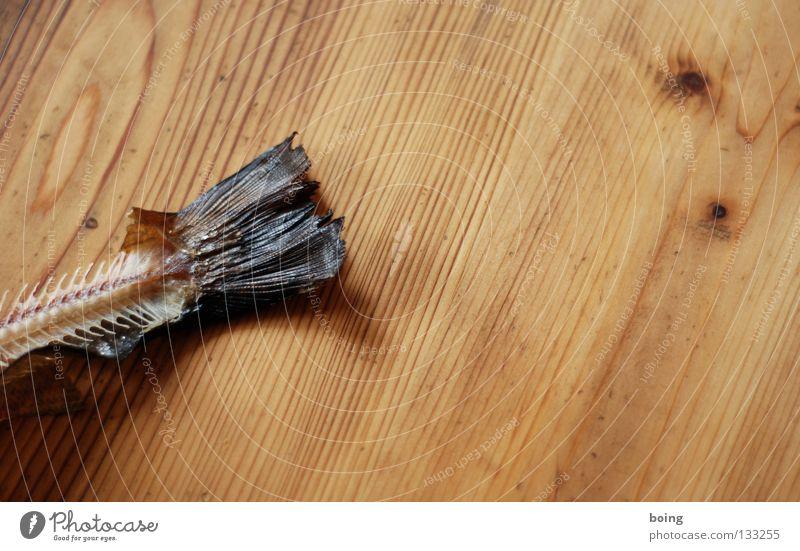 zwo Tisch Schwanz Fischgräte Fett Schweinefilet Skelett Fleisch Küche Schwimmhilfe Scheune Haut Forelle geräuchert filetieren entgräten Fischfont Karkasse
