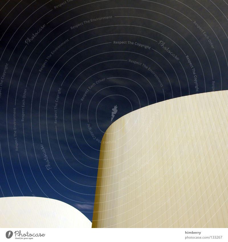 skyliner Haus Gebäude Mauer Wand rund Wolken Himmel Beton Wellen Silhouette Fassade Ausgabe Investor modern Detailaufnahme Wahrzeichen Denkmal building