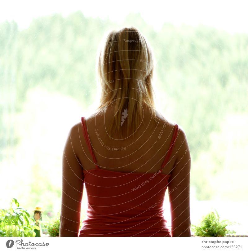 Das Fenster zum Sommer Frau Natur schön Pflanze Sommer Erholung Fenster Haare & Frisuren Denken Wärme warten blond Erwachsene Rücken heiß Neugier