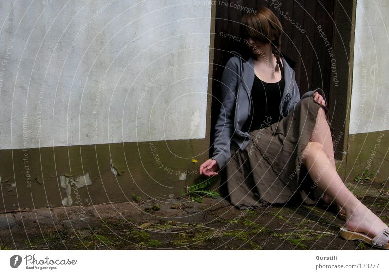 Löwenzahn Wand Einsamkeit Pflanze Denken kalt Konzentration sitzen Tür Beine