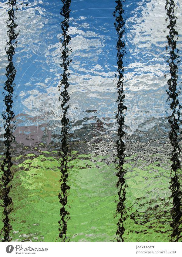 Hinter Gittern Wolken Wiese blau grün Inspiration Symmetrie Wandel & Veränderung Färbung Flachglas Beschichtung gestreut fein Tagtraum Feinstaub Verzerrung