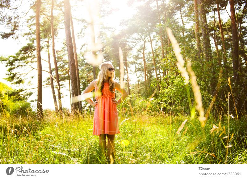 Ein Mädchen steht im Walde elegant Ausflug Sommer feminin Junge Frau Jugendliche 1 Mensch 18-30 Jahre Erwachsene Natur Schönes Wetter Gras Mode Kleid