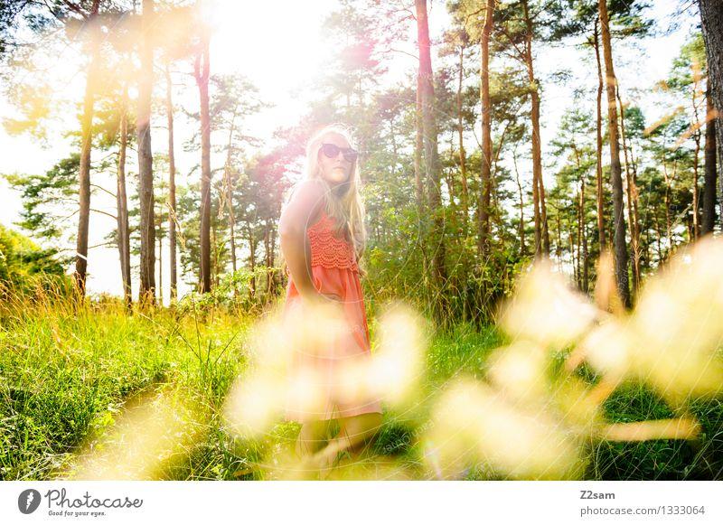 Da ist doch was im Busch. Mensch Natur Jugendliche schön Sommer Junge Frau ruhig 18-30 Jahre Wald Erwachsene Freiheit Mode rosa elegant modern authentisch