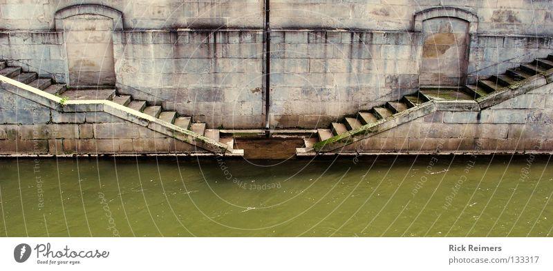 Treppengang Wasser Seil Fluss Romantik Kultur historisch Hannover Jahrhundert