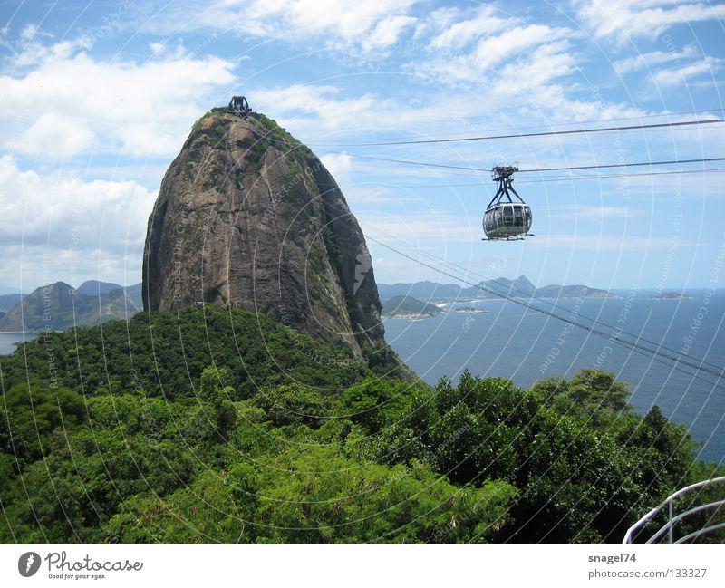 Bondinho Pão de Açúcar Ausflug Felsen Denkmal Wahrzeichen Sightseeing Sehenswürdigkeit Brasilien Bekanntheit Rio de Janeiro Gondellift Seilbahn Attraktion