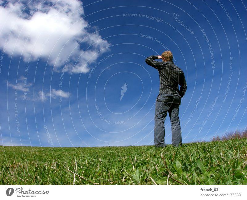 Ausblick im Frühjahr Mensch weiß See Denken gesichtslos maskulin Hand zyan Wolken schlechtes Wetter Froschperspektive Gras Wiese grün Halm Stroh stehen Himmel
