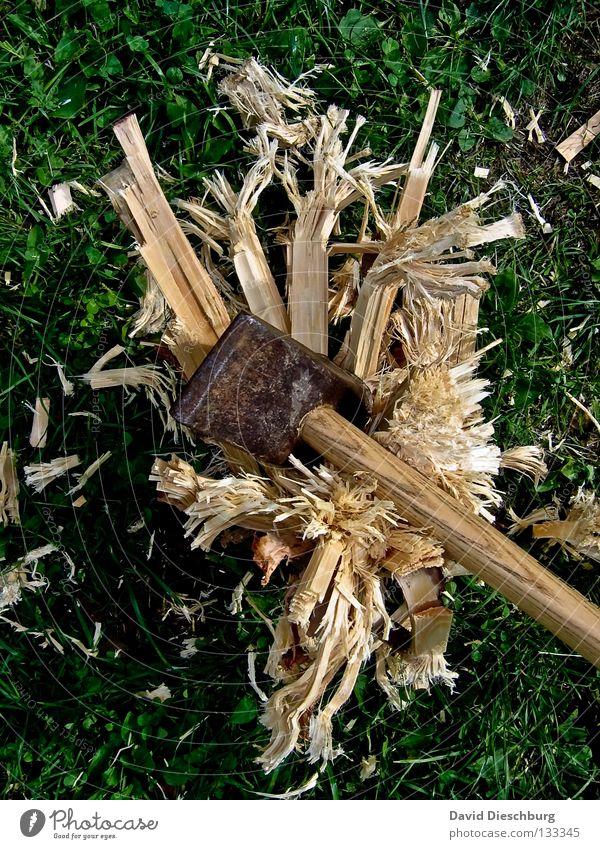 Zerstörungswut grün gelb Wiese Garten Holz braun Kraft Kraft kaputt gefährlich Rasen Wut Gewalt Zerstörung Reaktionen u. Effekte schlagen
