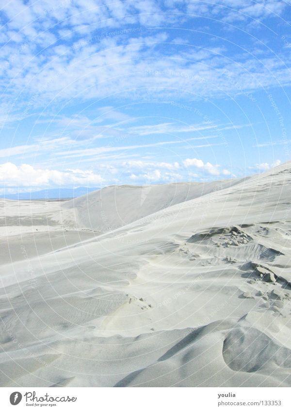 Farewell Spit Stranddüne Düne Sand Himmel blau Wolken Sonne Neuseeland Licht Ferien & Urlaub & Reisen Wüste Schatten Sommer Freiheit Ferne Küste Erde