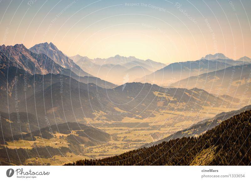 Berg und Tal Umwelt Natur Landschaft Wolkenloser Himmel Sommer Wetter Schönes Wetter Wärme Hügel Felsen Alpen Berge u. Gebirge Gipfel entdecken Ferne