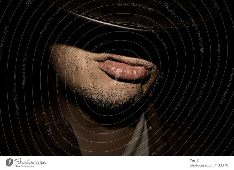 Billy Mann Gesicht schwarz dunkel Mund maskulin Coolness Lippen Jacke Bart Hut Wildtier Leder Gesichtsausdruck Hals beweglich