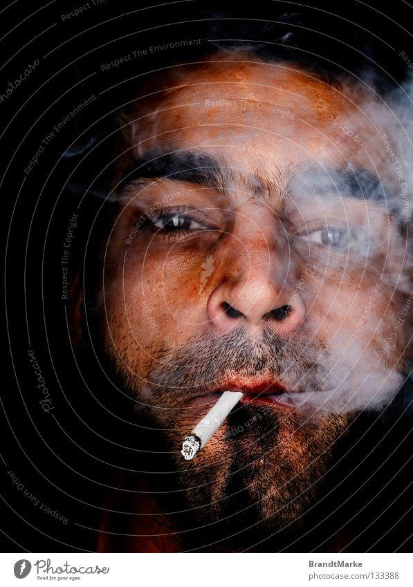 Tschu tschu Porträt Mann Bart unrasiert Zigarette Tabak Rauch Schwäche Auge Blick Dreitagebart Rauchen selbstgedreht