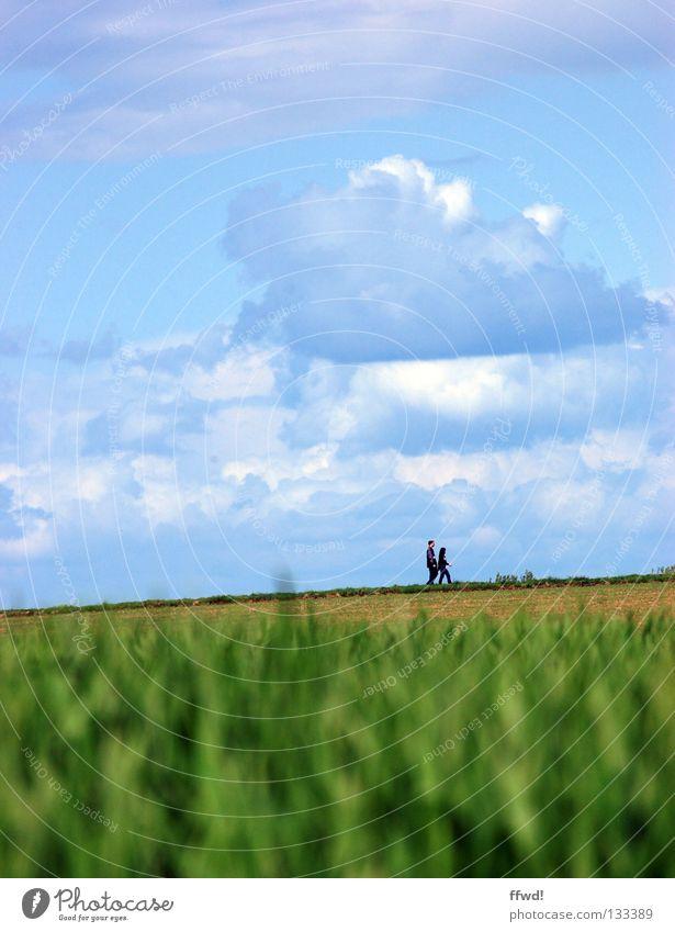 sunday walk Mensch Natur Himmel Wolken Einsamkeit Erholung Wiese Frühling Freiheit Paar Wege & Pfade Feld wandern gehen Wetter