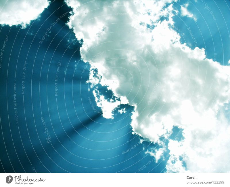 verdeckte Sonne Himmel weiß blau Sommer Wolken dunkel oben Linie hell Beleuchtung Flugzeug groß Horizont Niveau Schönes Wetter