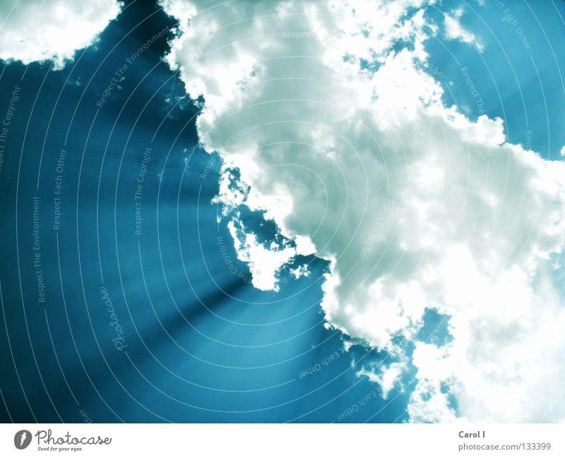 verdeckte Sonne Himmel weiß Sonne blau Sommer Wolken dunkel oben Linie hell Beleuchtung Flugzeug groß Horizont Niveau Schönes Wetter