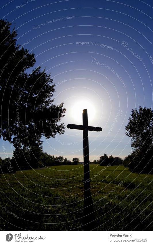 Kreuz.Altmühlsee blau grün Sommer Himmel (Jenseits) Baum Sonne Wiese Religion & Glaube See Rücken Kirche Frieden Baumstamm Wolkenloser Himmel