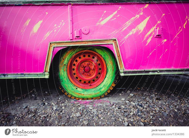 buntes Rad Stil Subkultur Straßenkunst Anhänger Dekoration & Verzierung Reifen außergewöhnlich eckig einzigartig verrückt trashig rosa Stimmung Freude
