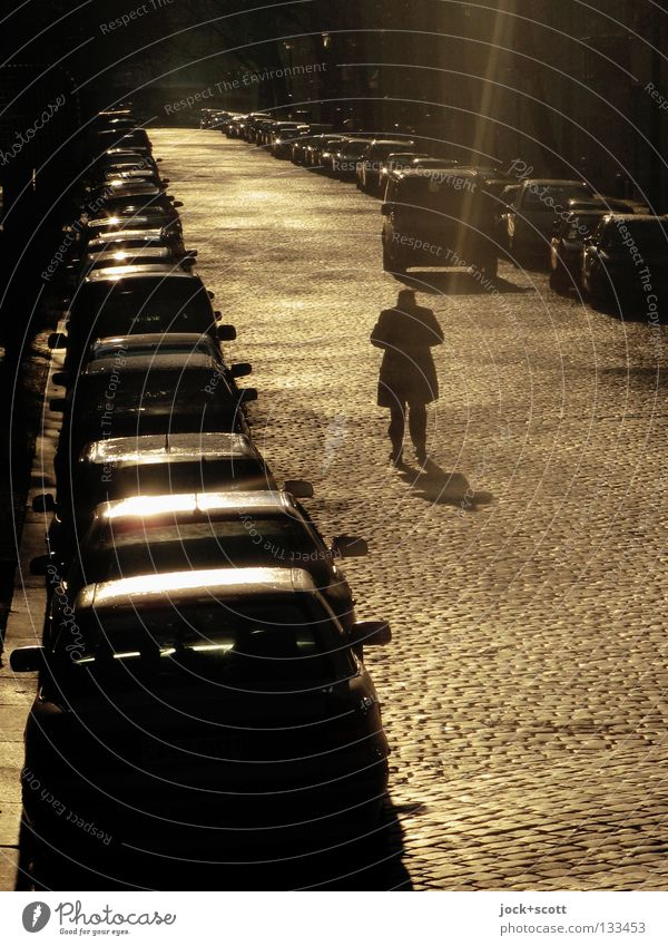 Goldrausch Mann Wärme Verkehrswege Straße Wege & Pfade PKW stehen Gefühle parken Reihe innehalten Situation Lichtgrenze Kopfsteinpflaster Standort Schatten