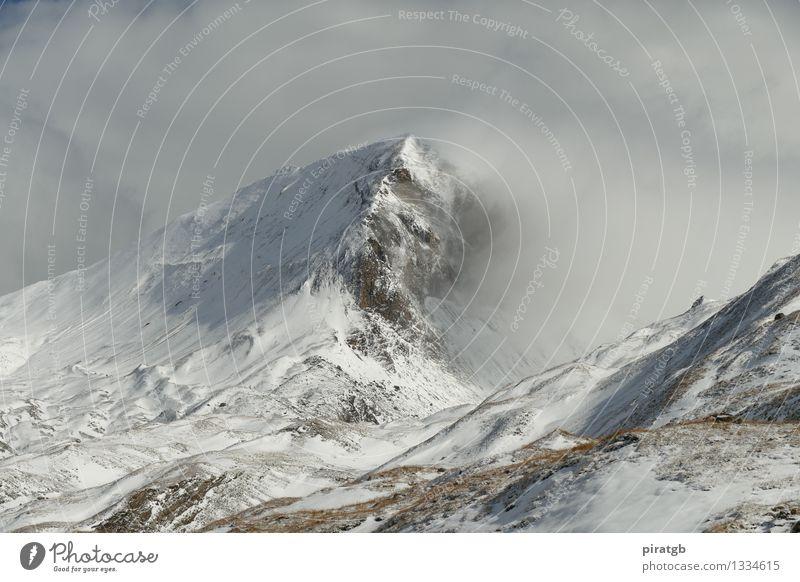 Wolkenmeer am Schartenkopf Landschaft kalt Berge u. Gebirge Schnee wandern bedrohlich Schneebedeckte Gipfel demütig