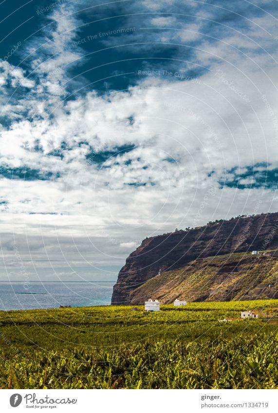 La Palma - Fels in der Brandung Himmel Natur Pflanze blau grün Wasser Meer Landschaft Wolken Haus Berge u. Gebirge Umwelt Wärme Frühling Wiese Küste