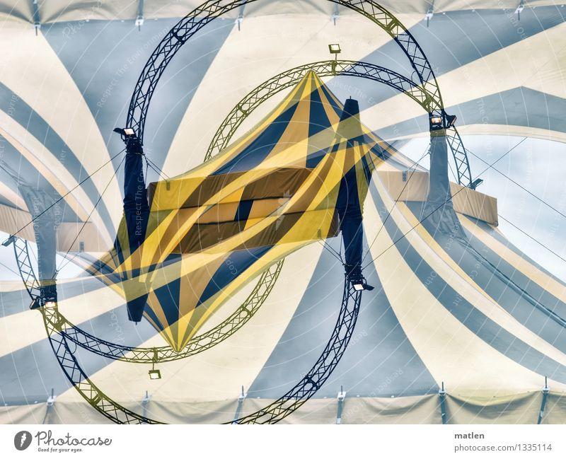 was für`n Zirkus rund gelb grau schwarz weiß Zelt Scheinwerfer Abdeckung Träger Gerüst Zirkuszelt Seil Farbfoto Außenaufnahme abstrakt Muster