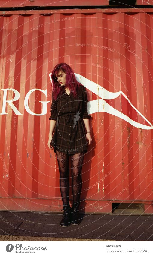 rot Junge Frau Jugendliche Beine 18-30 Jahre Erwachsene Schönes Wetter Kleid langhaarig violett Metall Buchstaben Fahne Blick stehen ästhetisch authentisch