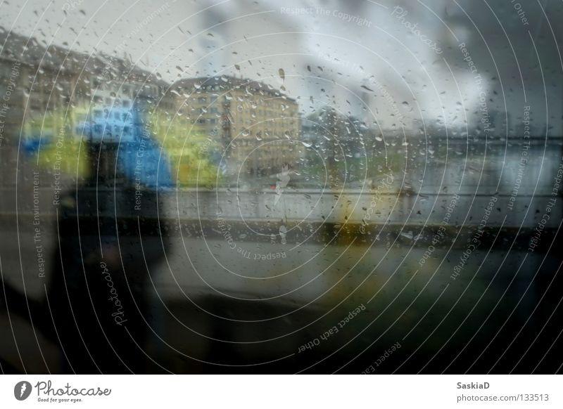 Regenmann Mann blau Stadt Einsamkeit Haus gelb Fenster kalt grau Wetter Regenschirm Fensterscheibe schlechtes Wetter trüb Rhein