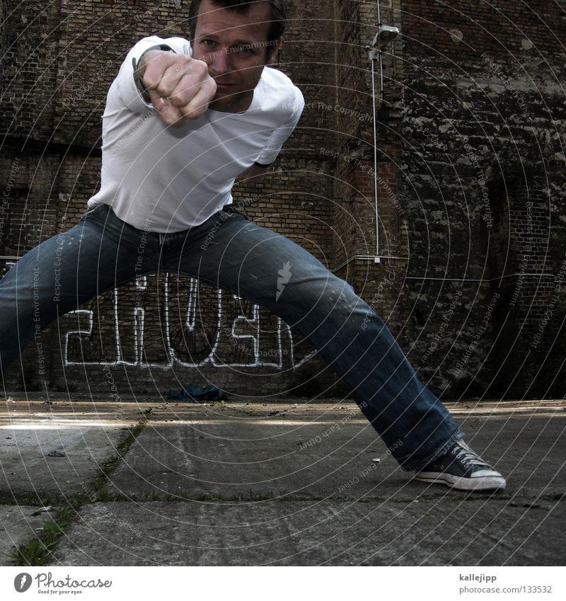 punch Wut Aggression Angriff Feindschaft Krieg Gegner laufen Wand Mauer Backstein Treffer Defensive Kriminalität Ghetto Geschmackssinn Vitamin C Mann Personal